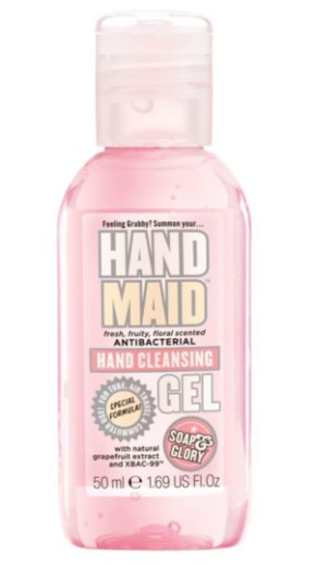 http://www.boots.com/en/Soap-Glory™-Hand-Maid™-Antibacterial-Hand-Cleansing-Gel-50ml_1208212/