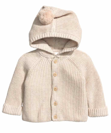 HM Hooded Cotton Pom Pom Cardigan