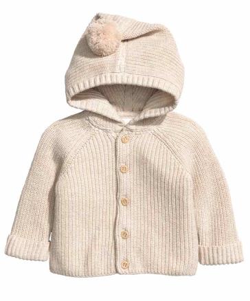HM Hooded Cotton Pom Pom Cardigan