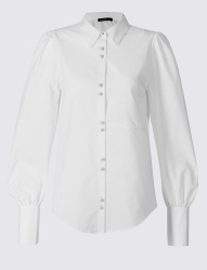 Limited Edition Cotton Blend Bubble Sleeve Shirt (£32.50)